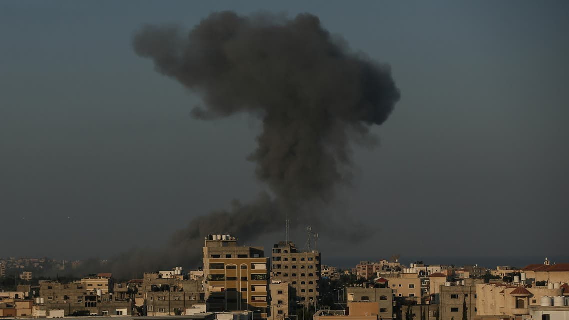 Smoke over Gaza, August 28, 2020. (AFP)