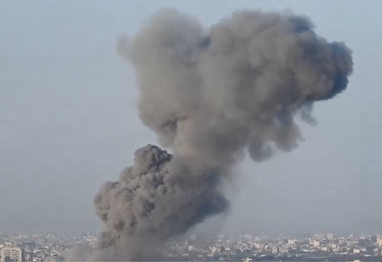 Another image shows smoke rising from the Gaza Strip following Israeli bombing. (Supplied)
