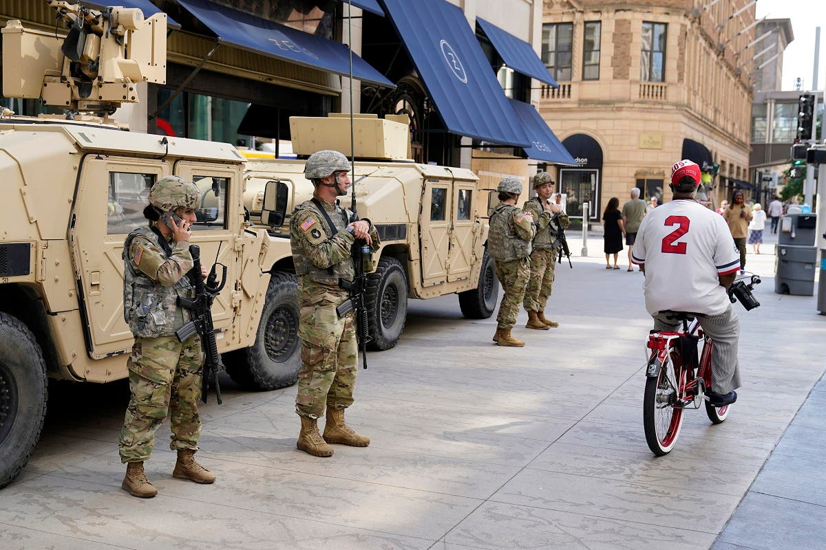 Minnesota National Guard soldiers stand watch along the famous Nicollet Mall, Thursday, Aug. 27, 2020, in downtown Minneapolis. (AP)