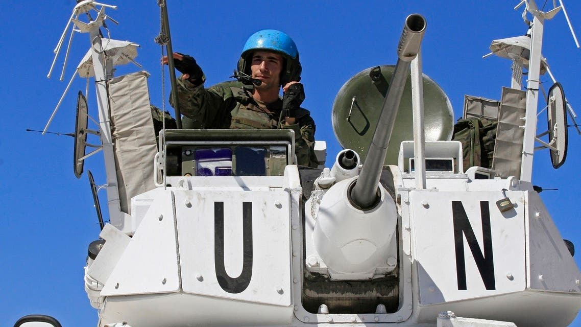 UNIFIL and Lebanese army soldiers take part in a live fire exercise in south Lebanon's Naqoura, Sept. 25, 2019. (AFP)