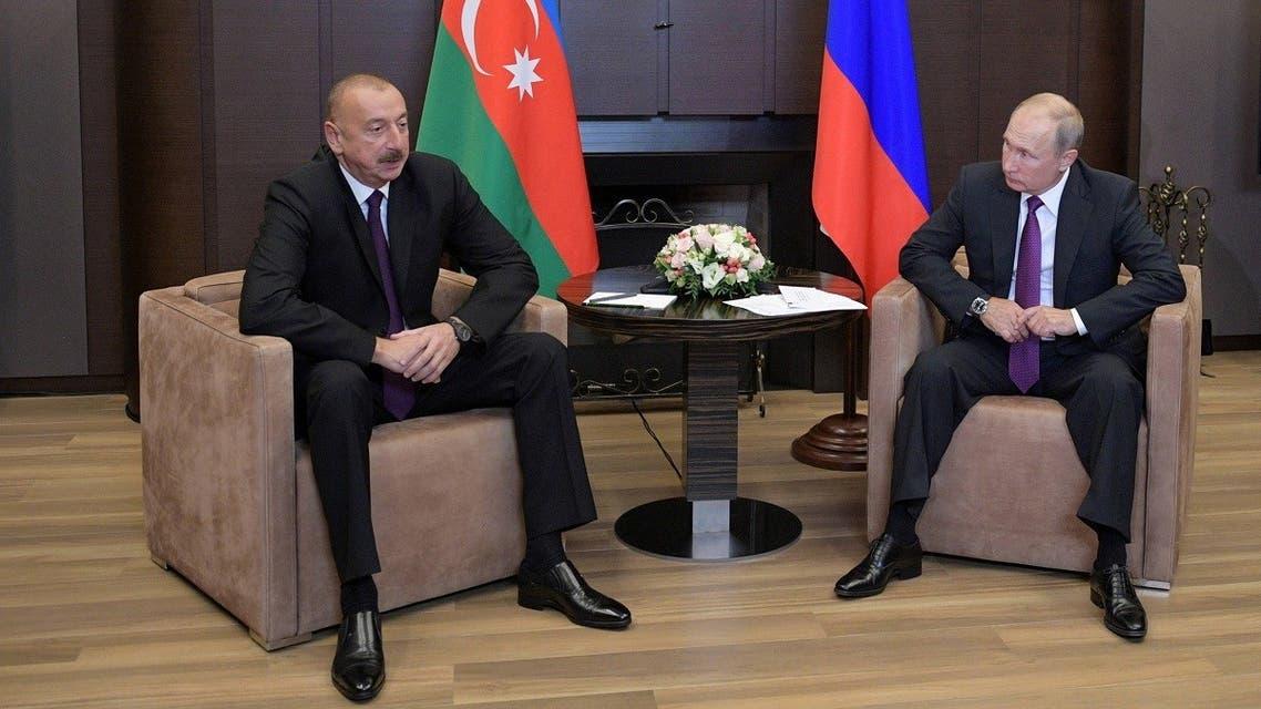 A file photo shows Russian President Putin meets Azeri President Aliyev in the Black Sea resort of Sochi, Russia. (Sputnik/Alexei Druzhinin/Kremlin via Reuters)