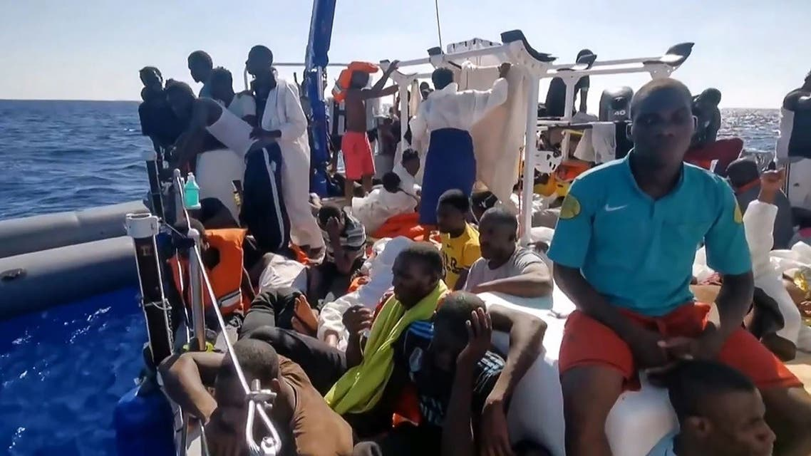 This image grab from a video obtained on August 29, 2020, from the Twitter account @MVLouiseMichel shows migrants onboard the Banksy-funded MV Louise Michel rescue vessel in the Mediterranean Sea. (AFP/MV Louise Michel)