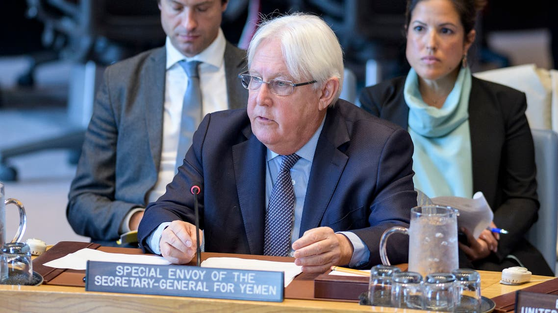 In this image obtained from the United Nations, UN envoy for Yemen Martin Griffiths speaks at the UN Security Council on May 15, 2019, in New York. Griffiths warned Wednesday that despite a rebel withdrawal from key ports, the country still faced the threat of a resumption of all-out war. Despite the significance of the last few days, Yemen remains at the crossroads between war and peace, Griffiths told the UN Security Council.