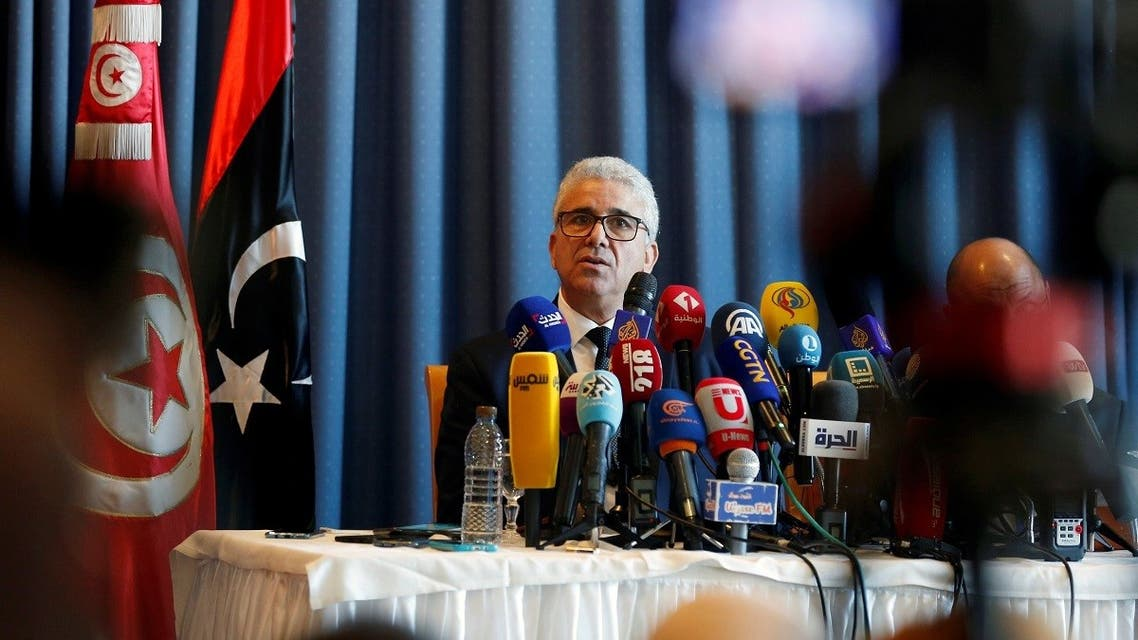 Libyan Interior Minister Fathi Bashagha speaks during a news conference in Tunis. (Reuters)