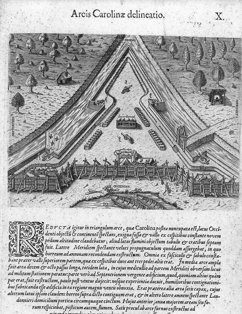 رسم تخيلي قديم لفورت كارولين الفرنسية
