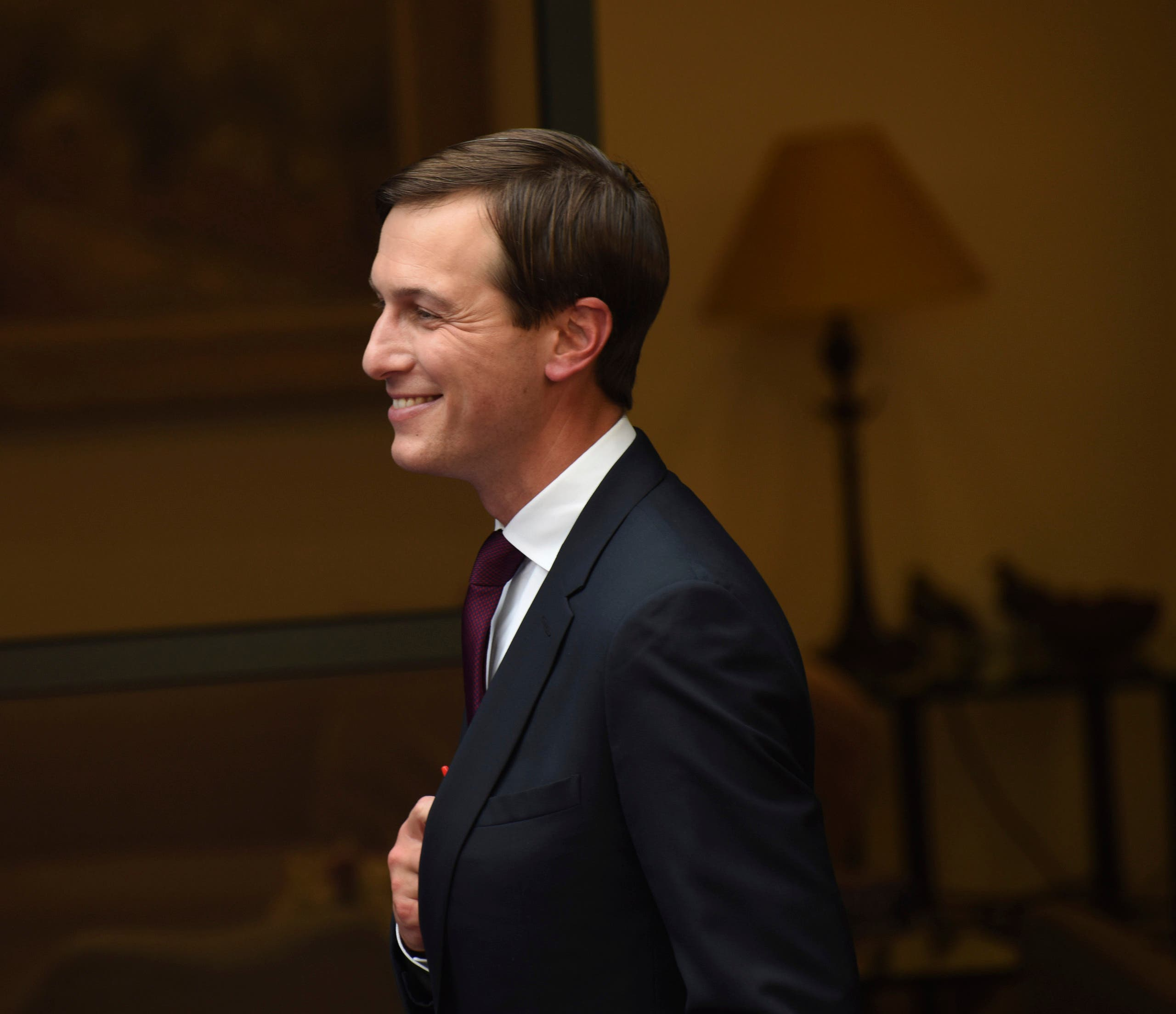 White House adviser Jared Kushner smiles after giving joint statements with Israeli Prime Minister Benjamin Netanyahu to the press about the Israeli-United Arab Emirates peace accords, in Jerusalem on Aug. 30, 2020. (AP)
