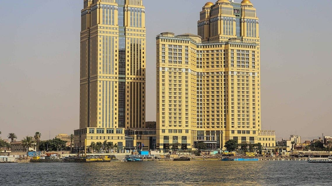 A general view taken on July 30, 2020 shows the five-star Fairmont Nile City hotel, where an alleged sexual assault took place in 2014, in the Egyptian capital Cairo. (AFP)