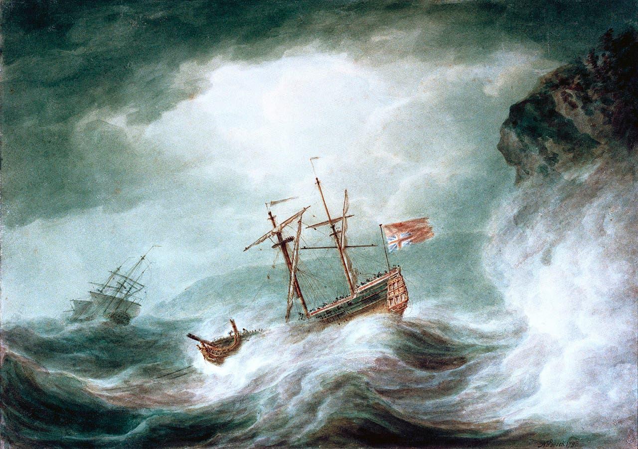 رسم تخيلي لإحدى السفن أثناء مصارعتها للأمواج في عرض البحر