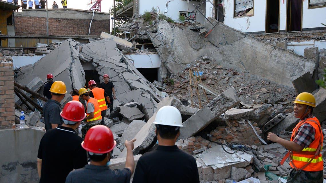 من انهيار المطعم في إقليم شانشي شمال الصين
