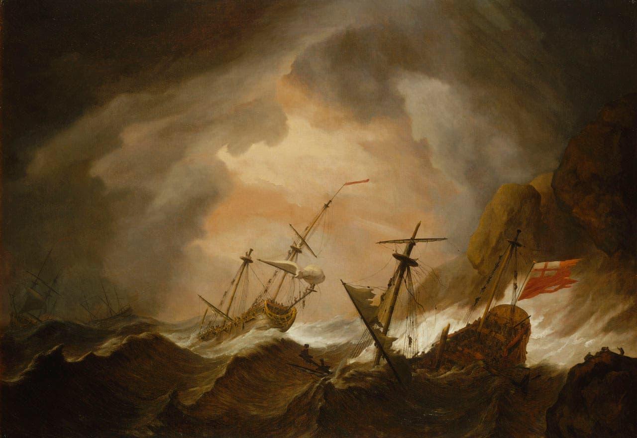 لوحة تبرز سفناً بريطانية خلال إحدى العواصف