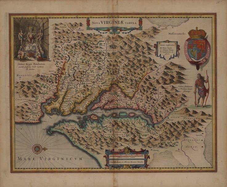 صورة لإحدى الخرائط القديمة لفرجينيا