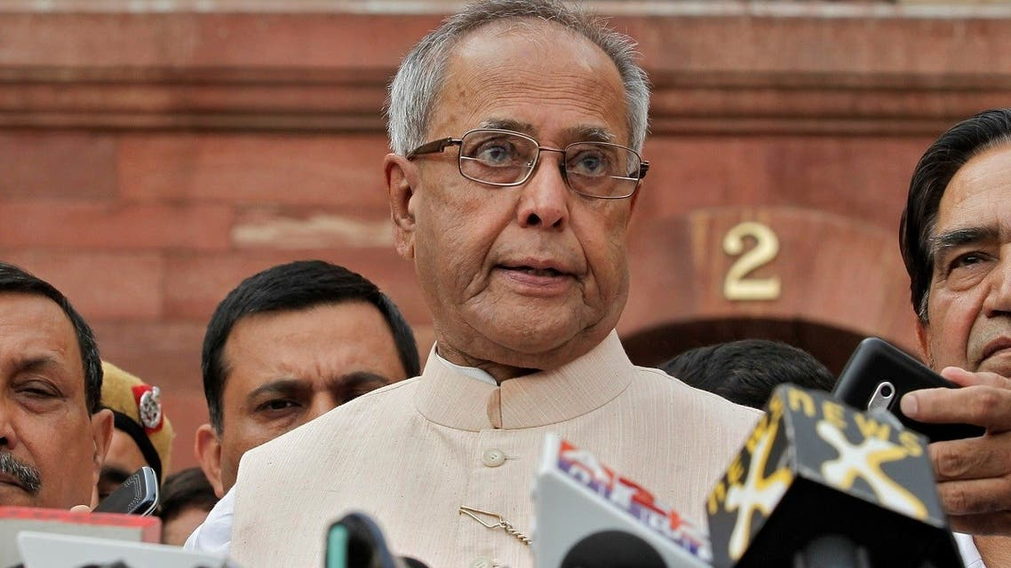 Pranab Mukherjee speaks to media in the run-up to the Indian presidential election in New Delhi, on June 26, 2012. (Reuters)
