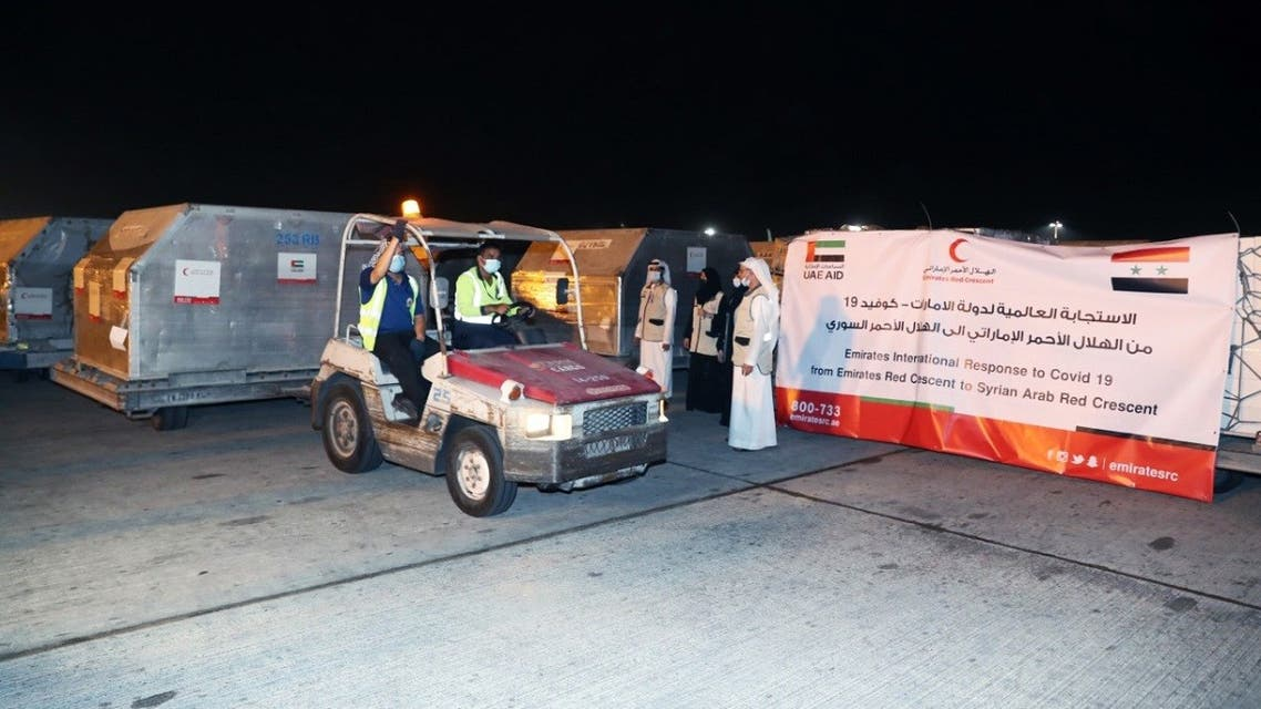 A medical aid aircraft dispatched by the Emirates Red Crescent, ERC, arrived in Damascus, Syria to help reduce the spread of the coronavirus. (Courtesy/WAM)