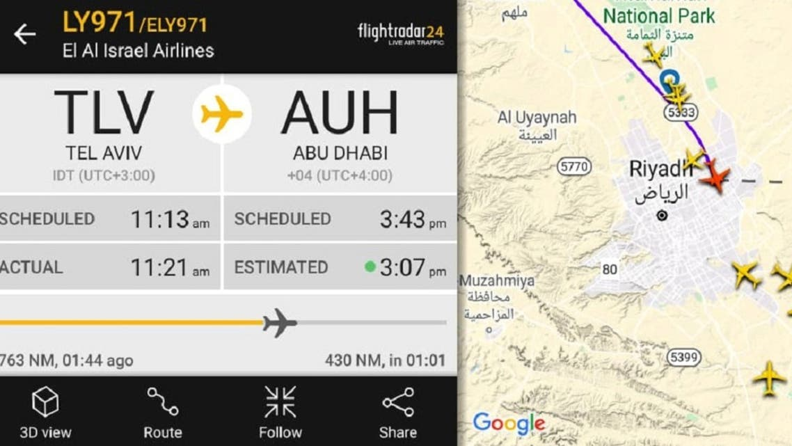 The route of Israeli flag carrier EL Al airliner flying over Saudi airspace while carrying a delegation of Israeli and American officials to Abu Dhabi. (Reuters)