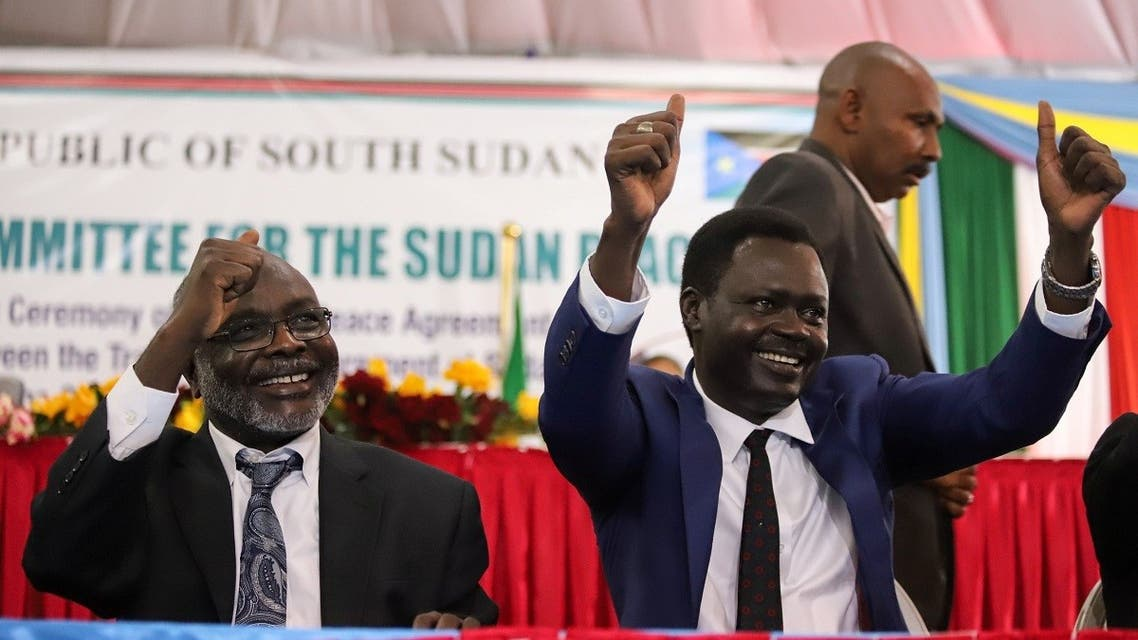 Dr. Gibril Ibrahim Mohammed is the leader of the Justice and Equality Movement (JEM) and Sudan Liberation Movement/Army (SLM/A), Minni Arko Minnawi gesture after the signing of a peace agreement in Juba, South Sudan, on August 31, 2020. (Reuters)