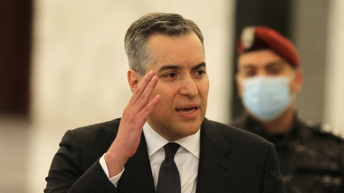 Lebanon's Prime Minister-designate Mustapha Adib speaks from the presidential palace, Aug. 31, 2020. (Reuters)