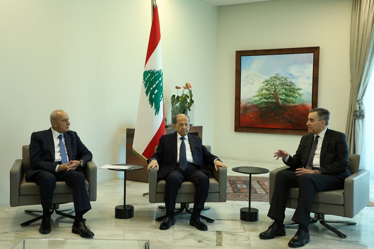 Prime Minister-designate Mustapha Adib, meets with President Michel Aoun and Speaker Nabih Berri, Aug. 31, 2020. (Reuters)