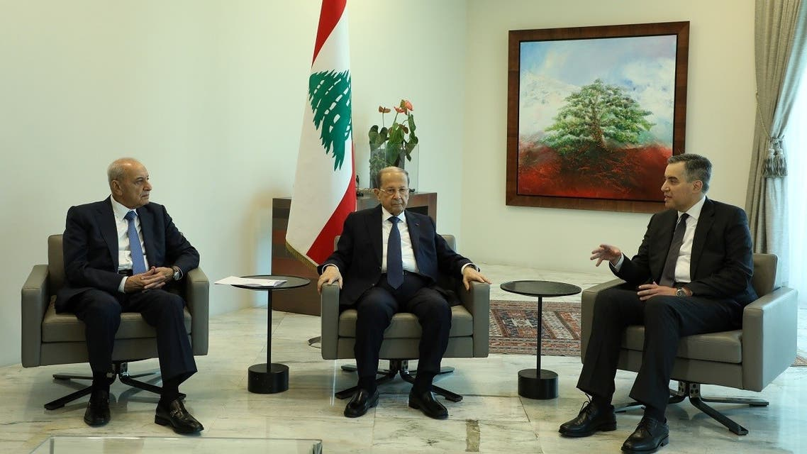 Designated Prime Minister Mustapha Adib, meets with Lebanon's President Michel Aoun and Lebanese Speaker of the Parliament Nabih Berri at the presidential palace in Baabda, Lebanon August 31, 2020. (Reuters)