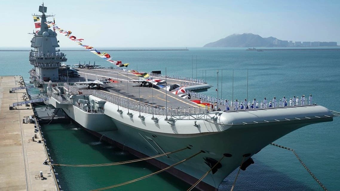 The Shandong aircraft carrier is docked at a naval port in Sanya in southern China's Hainan Province, Dec. 17, 2019. (Reuters)