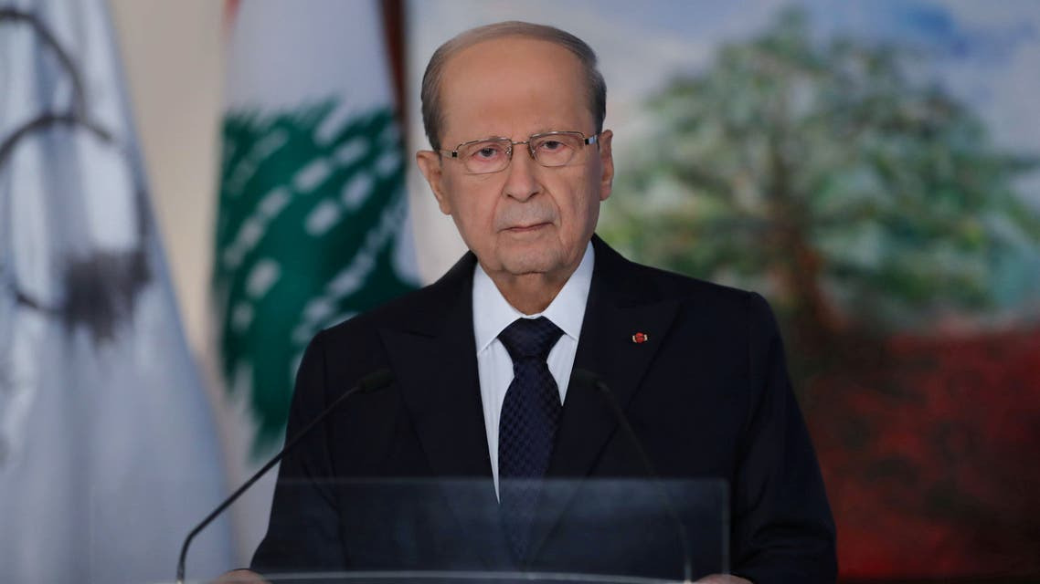 Lebanese President Michel Aoun delivers televised address to the public on eve of Lebanon's centenary at the presidential palace in Baabda, Lebanon in this undated handout released on August 30, 2020. Dalati Nohra/Handout via REUTERS ATTENTION EDITORS - THIS IMAGE WAS PROVIDED BY A THIRD PARTY