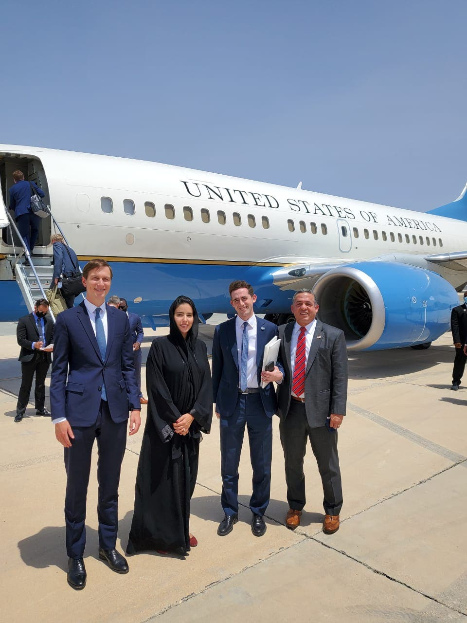 UAE Minister of Foreign Affairs' Hend Al Otaiba with the Israeli and US delegation to the UAE. (Twitter, Hend Al Otaiba)