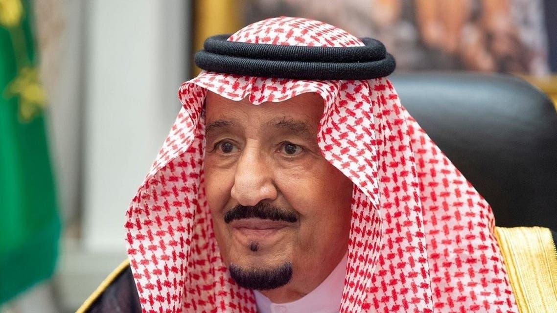 Saudi Arabia's King Salman bin Abdulaziz attends a virtual cabinet meeting in Neom, Aug. 18, 2020. (Reuters)