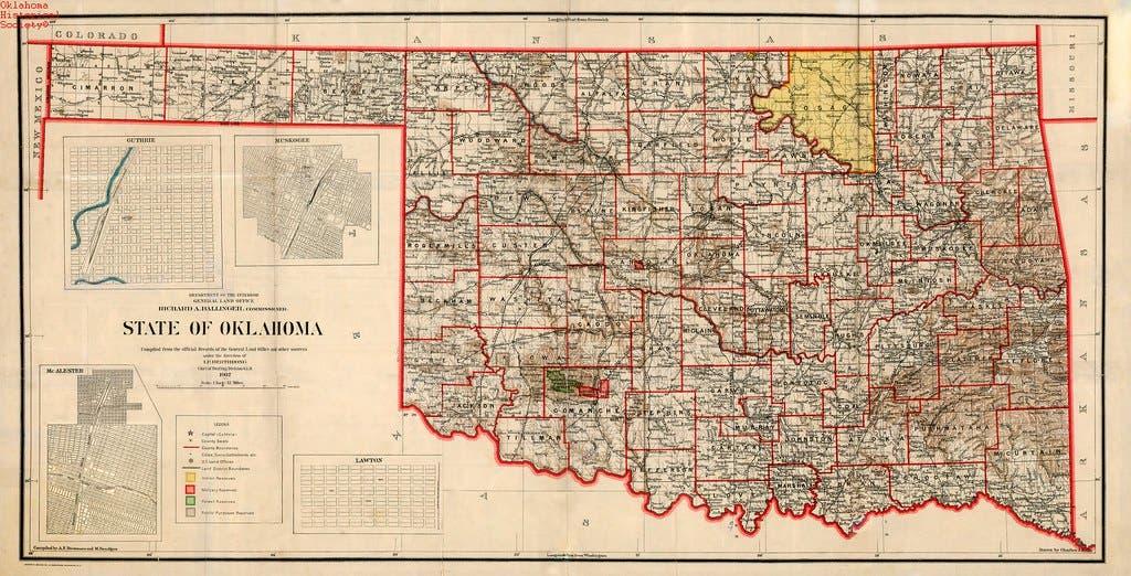 خارطة ولاية اوكلاهوما عام 1907