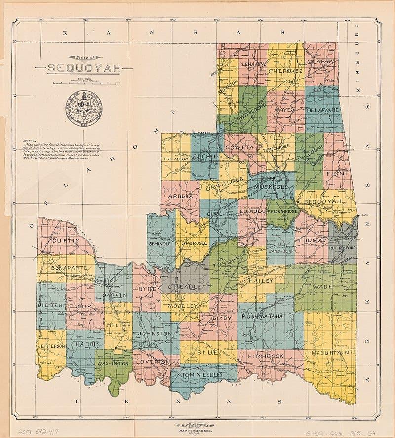 صورة مقترحة مطلع القرن العشرين لتقسيم ولاية سيكويا