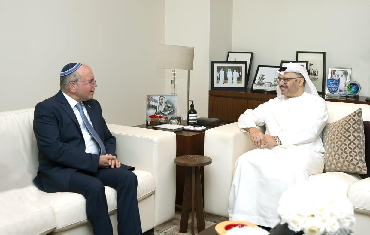 UAE's Gargash meets in Abu Dhabi with Israel's head of the National Security Council Ben-Shabbat. (WAM)