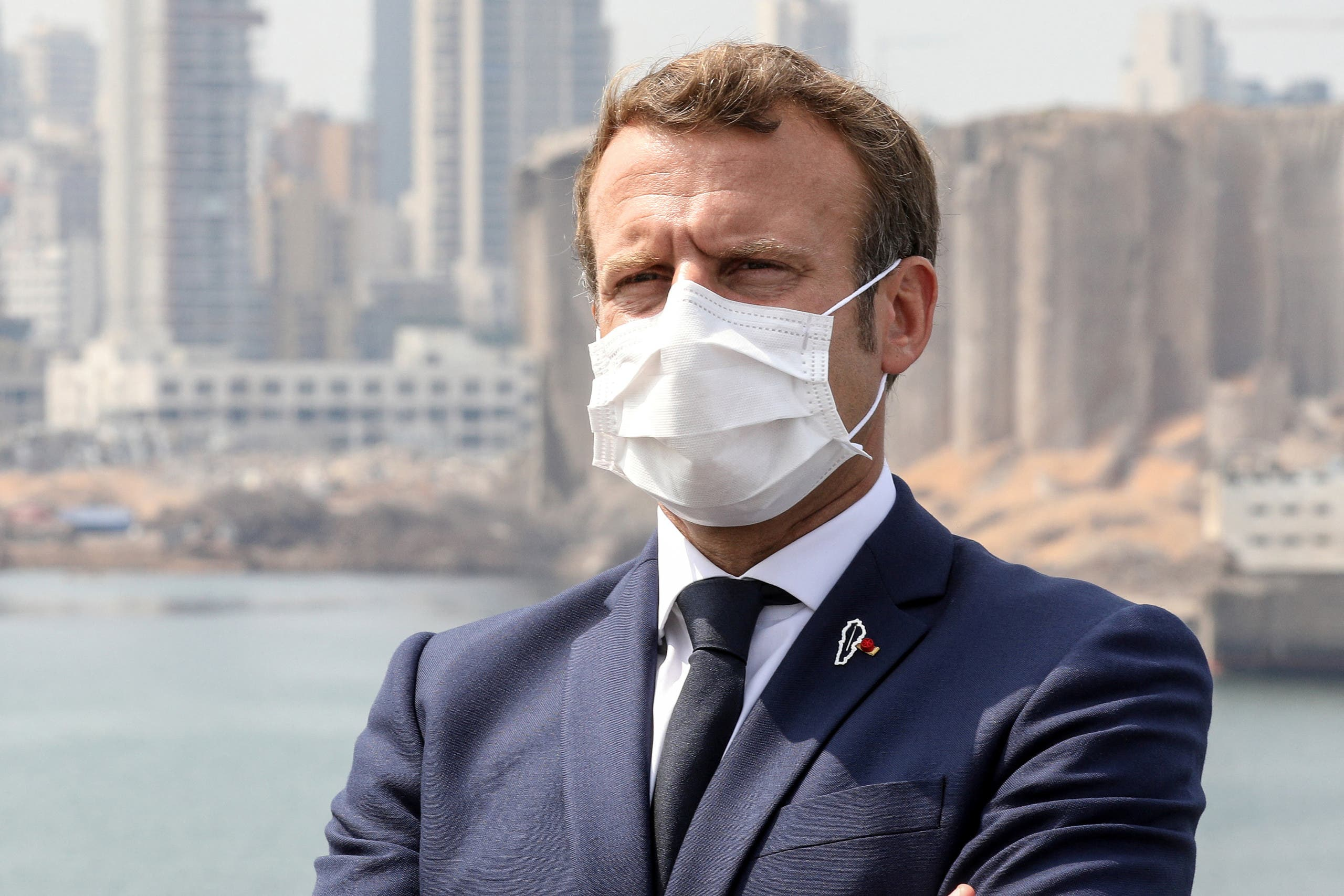 الرئيس الفرنسي ايمانويل ماكرون خلال زيارته للبنان في سبتمبر الماضي