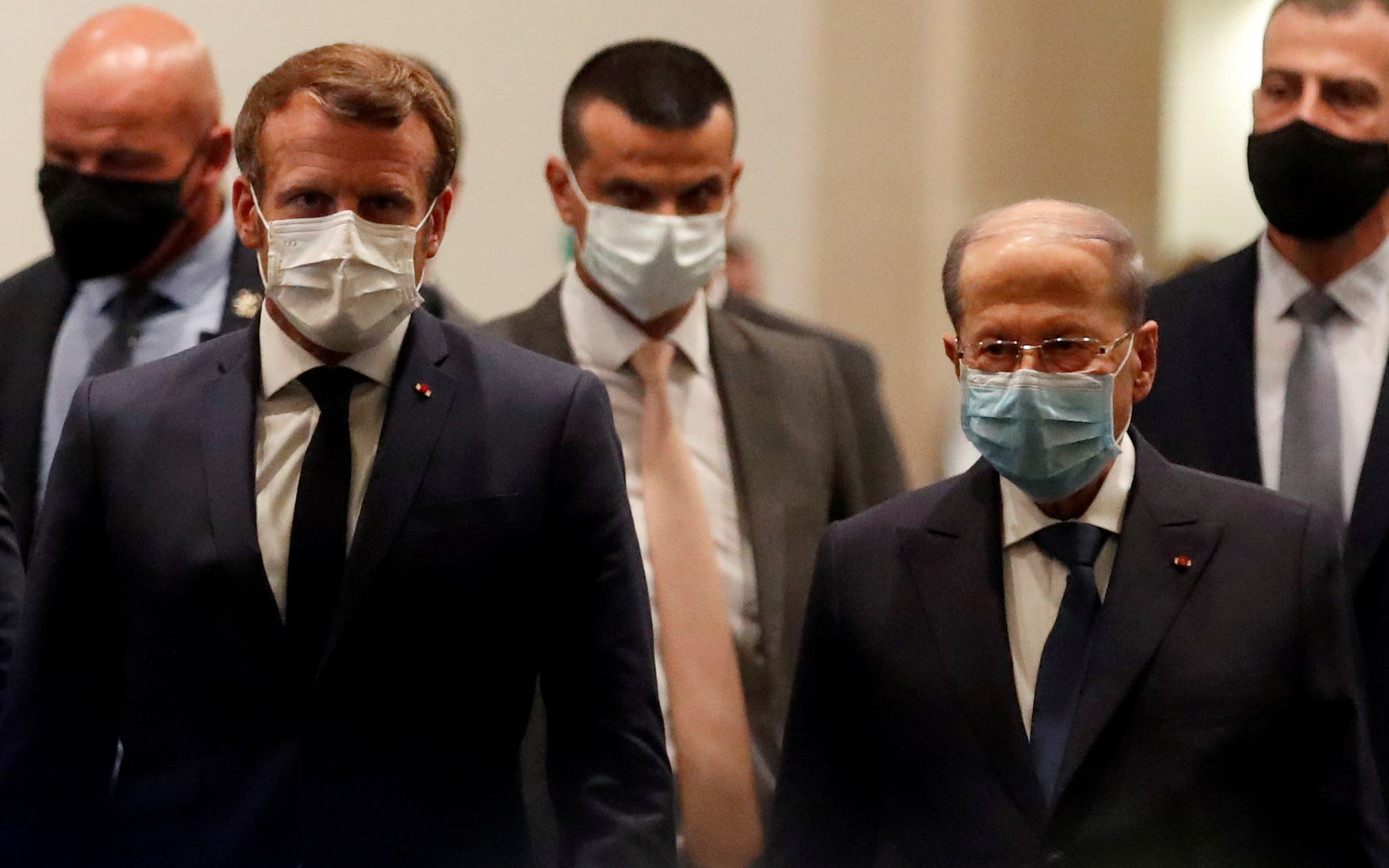 French President Emmanuel Macron and Lebanese President Michel Aoun leave after their meeting at Beirut International airport, Lebanon August 31, 2020. (File photo: Reuters)
