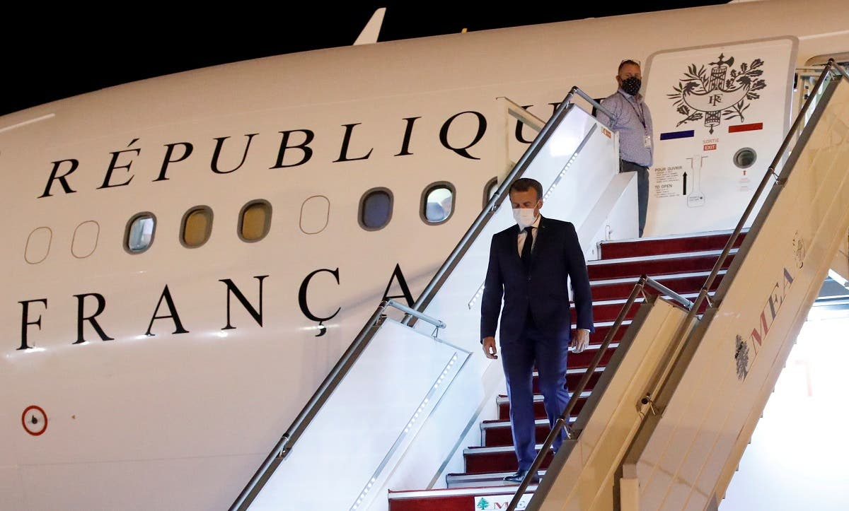 French President Emmanuel Macron arrives at Beirut International airport, Aug. 31, 2020. (Reuters)