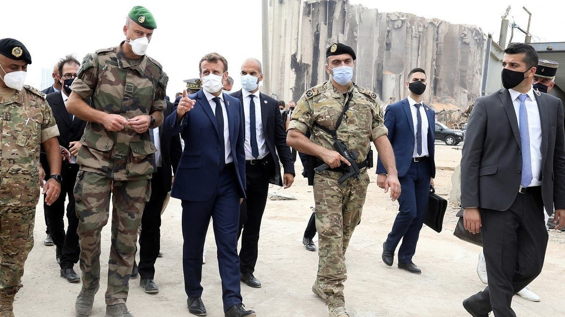 French President Emmanuel Macron meets members of the military mobilized for the reconstruction of the port of Beirut, Sept. 1, 2020. (Reuters)