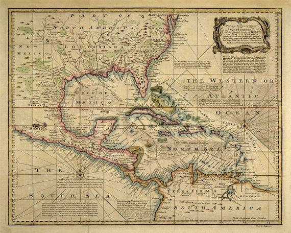 خريطة قديمة لمناطق بحر الكاريبي وخليج المكسيك
