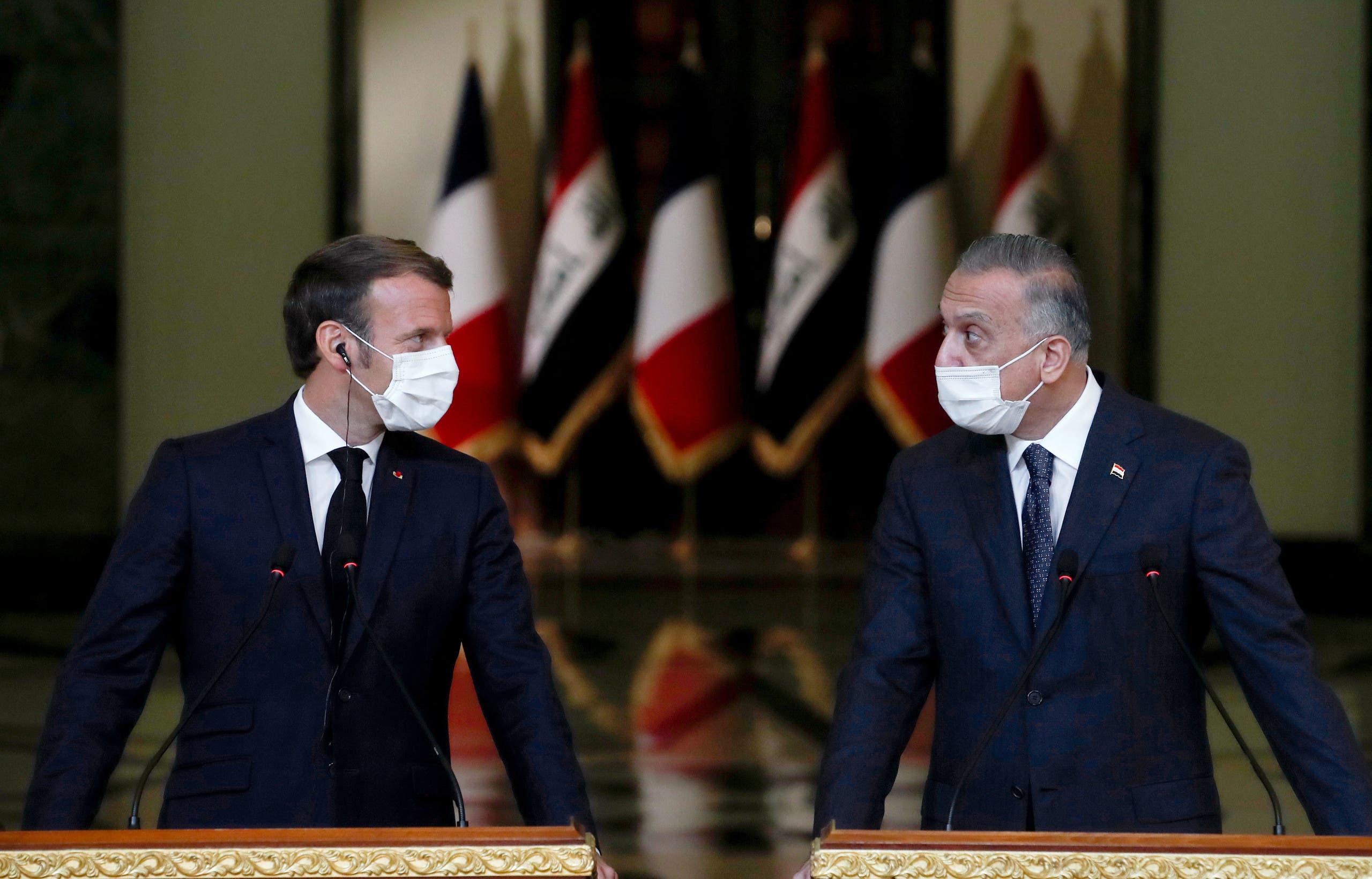 مصطفى الكاظمي والرئيس ماكرون