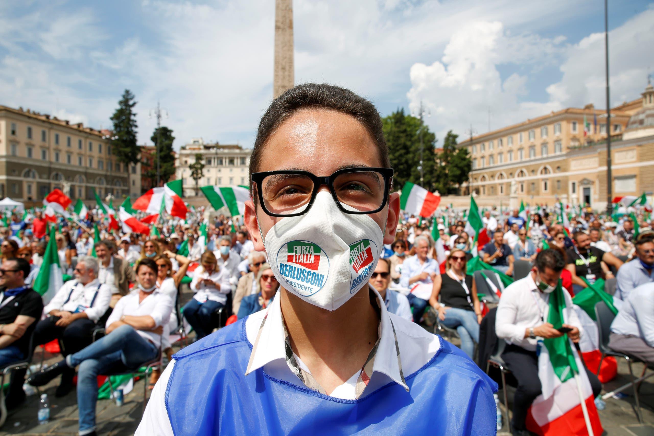 تجمع لمناصري حزب برلسكوني في روما بمايو الماضي