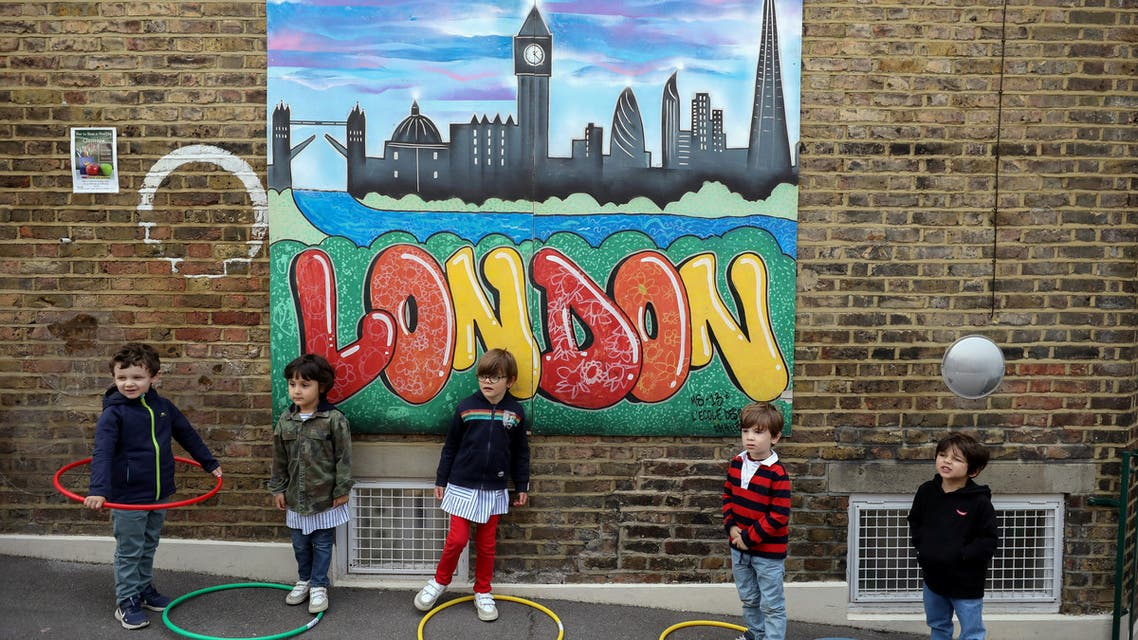 Children use hoops amid the coronavirus pandemic at a school in Fulham, London. (File photo: Reuters)