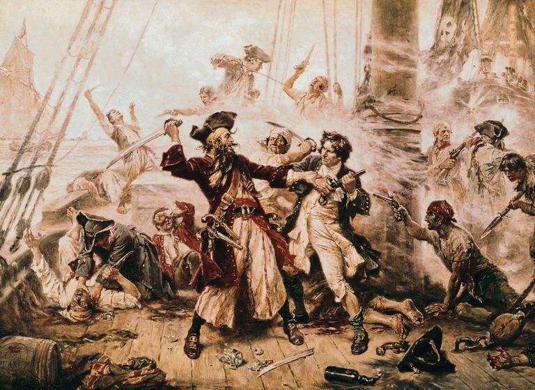 لوحة تبرز إحدى المعارك بين القراصنة والقوات النظامية بالكاريبي