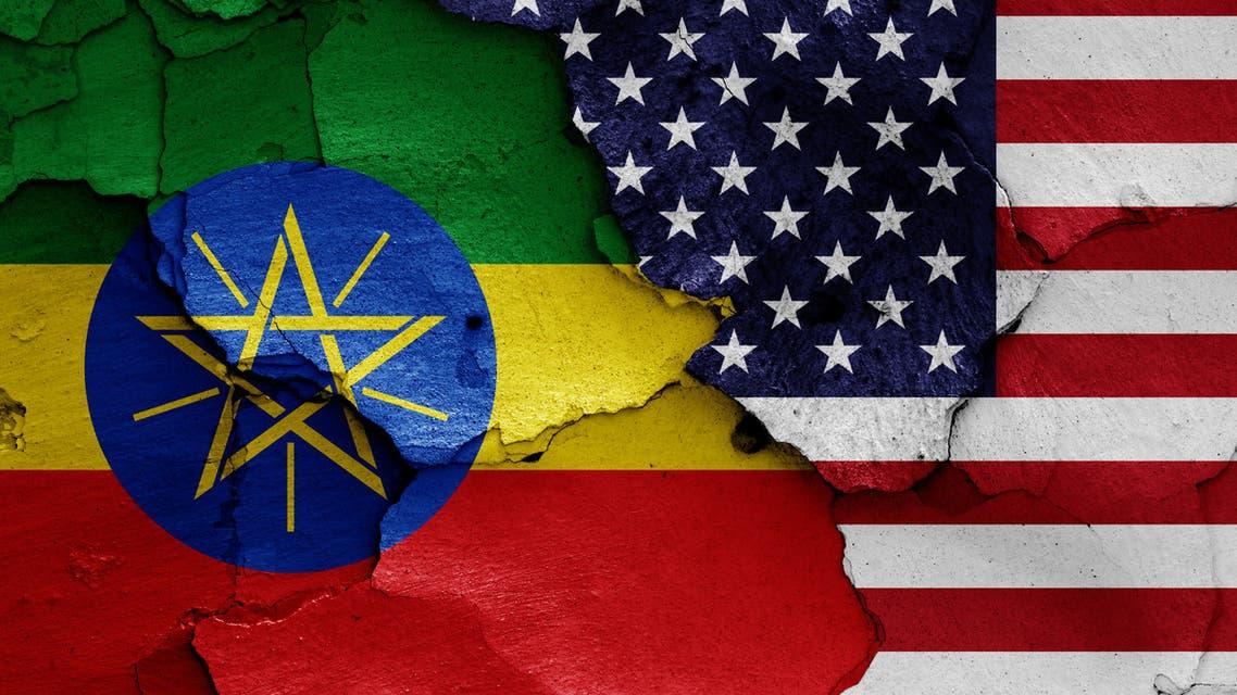 Waving flag of Ethiopia and USA stock photo