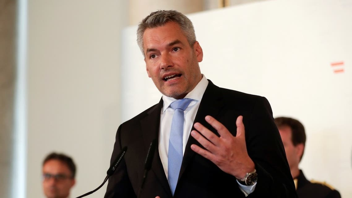 Austrian Interior Minister Nehammer attends a news conference in Vienna. (File photo: Reuters)