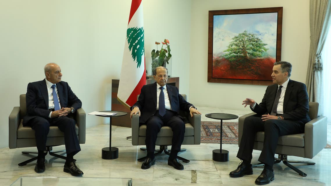 Designated Prime Minister Mustapha Adib, meets with Lebanon's President Michel Aoun and Lebanese Speaker of the Parliament Nabih Berri at the presidential palace in Baabda, Lebanon August 31, 2020. REUTERS/Mohamed Azakir