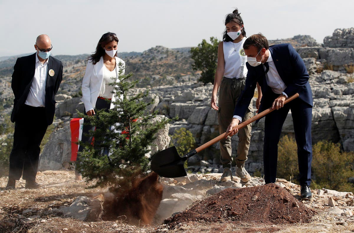 French President Emmanuel Macron plants a cedar with members of the NGO Jouzour Loubnan in Jaj, near Beirut, Tuesday Sept. 1, 2020. (AP)