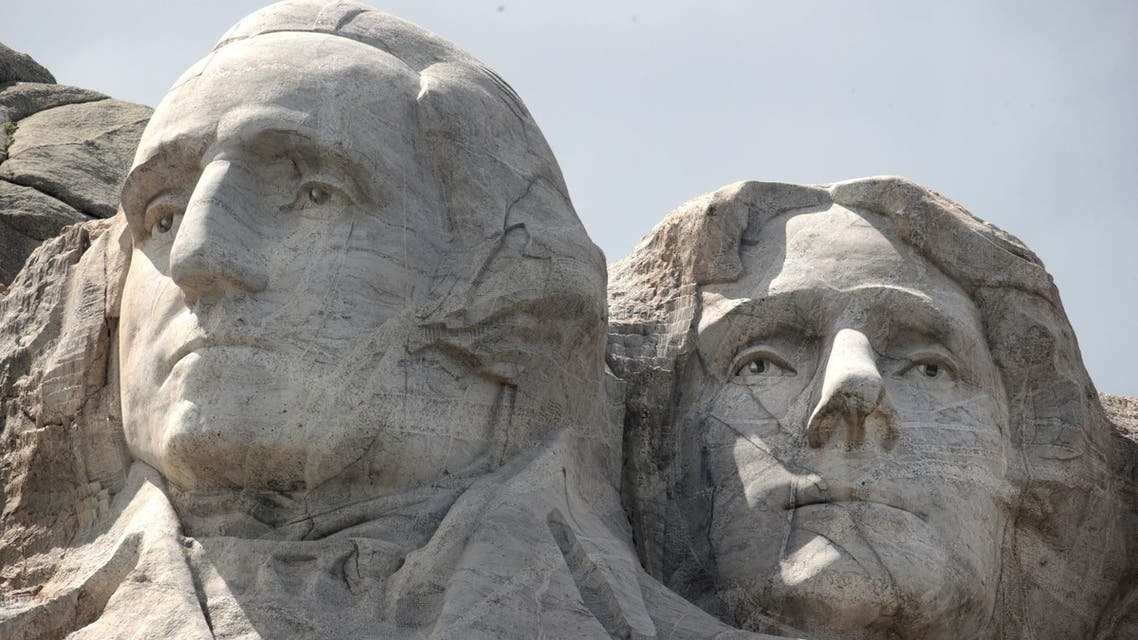 KEYSTONE, SOUTH DAKOTA - JULY 01: The busts of U.S. presidents George Washington, and Thomas Jefferson tower over the Black Hills at Mount Rushmore National Monument on July 01, 2020 in Keystone, South Dakota. President Donald Trump is expected to visit the monument and speak before the start of a fireworks display on July 3. Scott Olson/Getty Images/AFP  SCOTT OLSON / GETTY IMAGES NORTH AMERICA / Getty Images via AFP  Add to cart Print Download Related documents Share this document