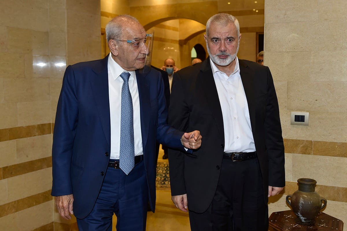 Lebanese Parliament Speaker Nabih Berri (L) receives Hamas Chief Ismail Haniyeh at the Ain el-Tineh palace in Beirut on September 2, 2020. (AFP)