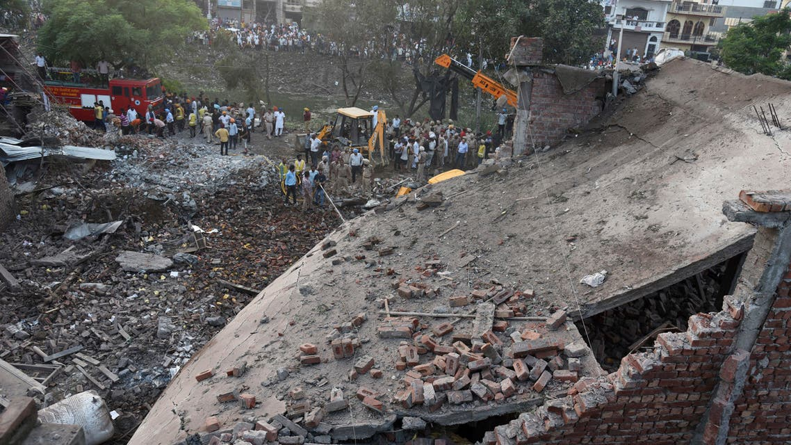 Rescuers work at the site of a previous explosion at a fireworks factory in Batala, in the northern Indian state of Punjab, Wednesday, Sept. 4, 2019. (AP)
