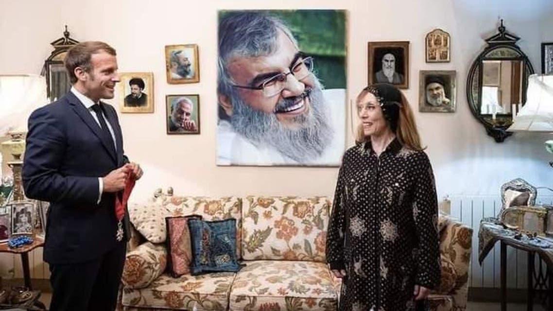 A photoshopped image of French President Macron and Lebanese legend Fairuz. (Twitter)