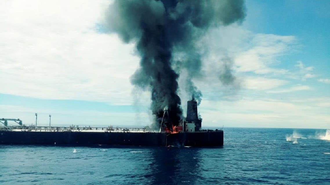 The New Diamond is seen off the east coast of Sri Lanka after a fire broke out. (Reuters)