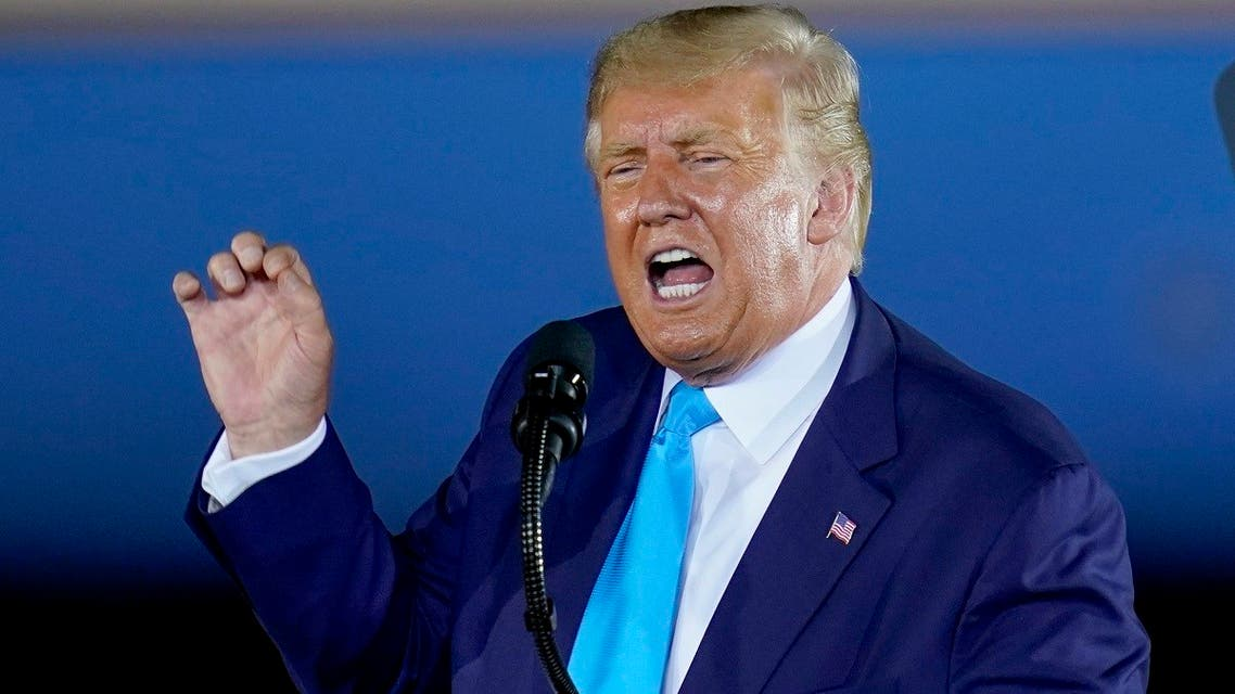 President Donald Trump addresses a crowd at a campaign event at the Arnold Palmer Regional Airport, on September 3, 2020, in Latrobe, Pennsylvania. (AP)
