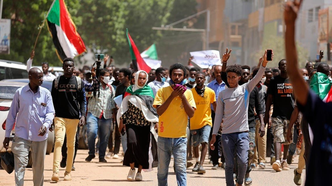 Sudanese protesters march to the Cabinet headquarters in the capital, Khartoum, Sudan, Aug. 17, 2020. (AP)