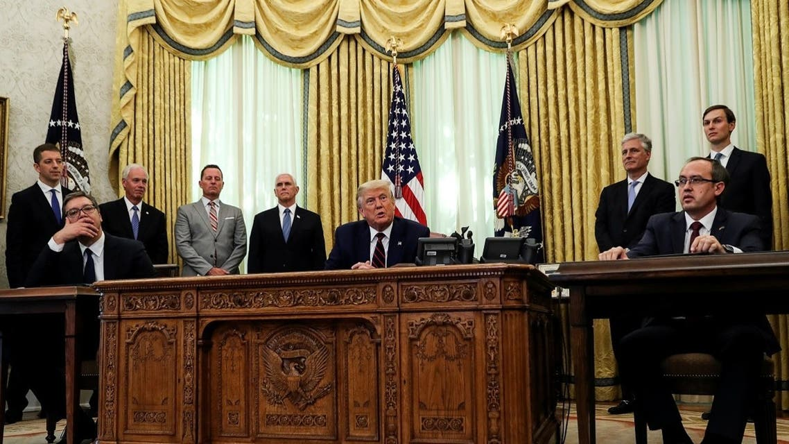US President Donald Trump speaks during a meeting with Serbia's President Aleksandar Vucic and Kosovo's Prime Minister Avdullah Hoti at the White House Sept. 4, 2020. (Reuters)